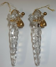 (I) Set Plastic Santa Clause Icicle Christmas Tree Holiday Ornaments Cle... - $5.93