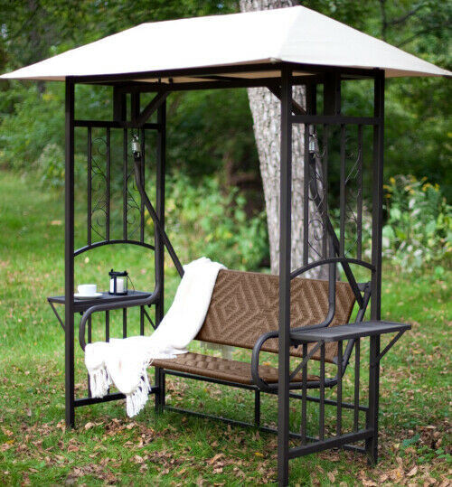 Porch Swing With Canopy Metal Wicker Seat Gazebo Hanging Patio Bench With Stand