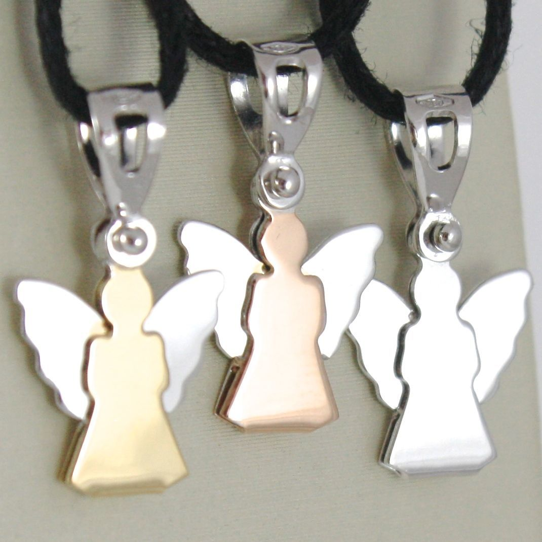 WHITE GOLD PENDANT, YELLOW AND WHITE 0,5 ROSE AND WHITE 750 18K ANGEL GUARDIAN