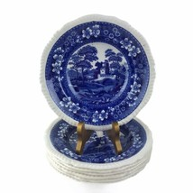 """7 Copeland Spode's Blue Tower 7-1/2"""" Soup Bowls Oval Stamp Gadroon Engla... - $93.50"""