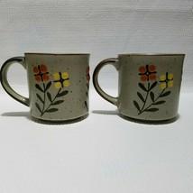 2 Otagiri Stoneware Coffee Mugs Speckled Brown Trim Orange Yellow Green Flowers - $24.74