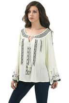Flirty Boho Cream Tunic with Black Embroidery, Bow + Arrow, S, M or L * - $35.99