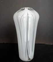 "RICH MILLER Art Glass, Pulled White Feathers Signed 8"" - MINT - $34.94"