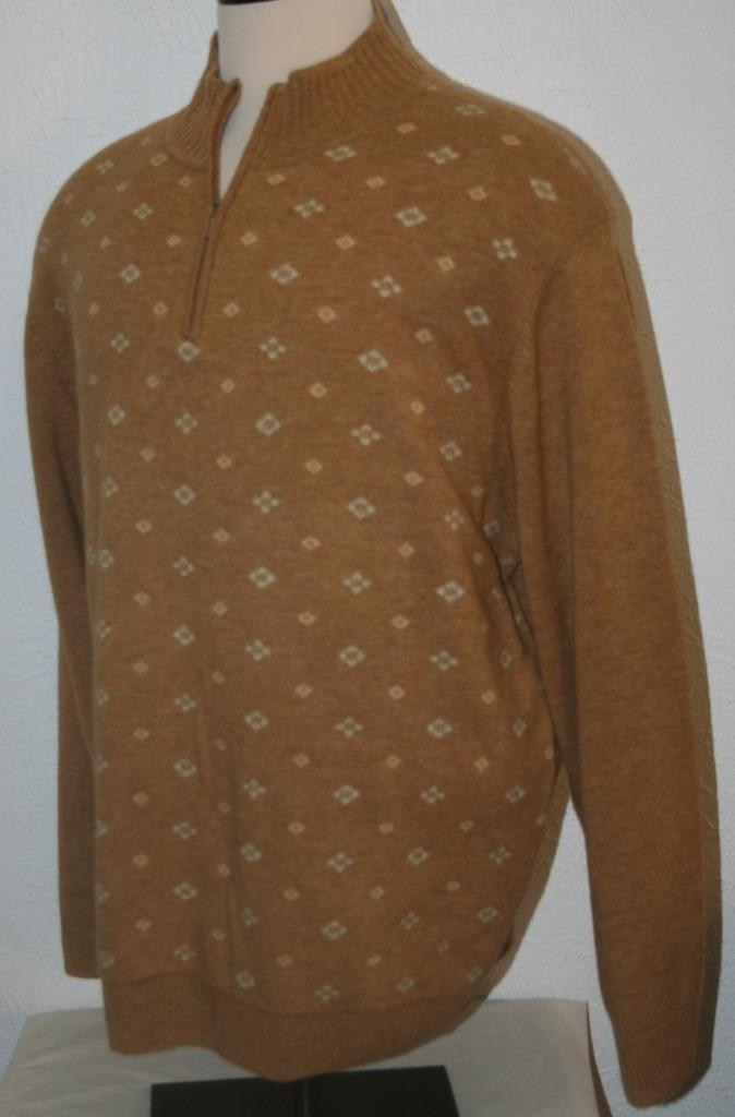 """NWT JOS. A. BANK Brown Lambs Wool Sweater XXL 1/4 Zip Chest 51"""" $100 NEW Mens"""