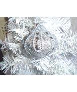 Christmas Ornament Tree Silver Glitter Teardrop Onion Shiny Gems Bling - $6.92