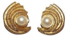 BIG Vintage faux Pearl Gold tone Sculpture Statement Clip On Earrings STUNNING - $24.99