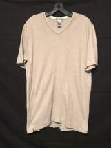 Alfani Silver Grey  Men L V-Neck T-Shirt 100% Cotton Short Sleeve Ribbed... - $9.74