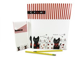 Cute 2-Pocket Cat Plastic Glossy Folder with Pencil Pen Case and 2 Yello... - $15.36