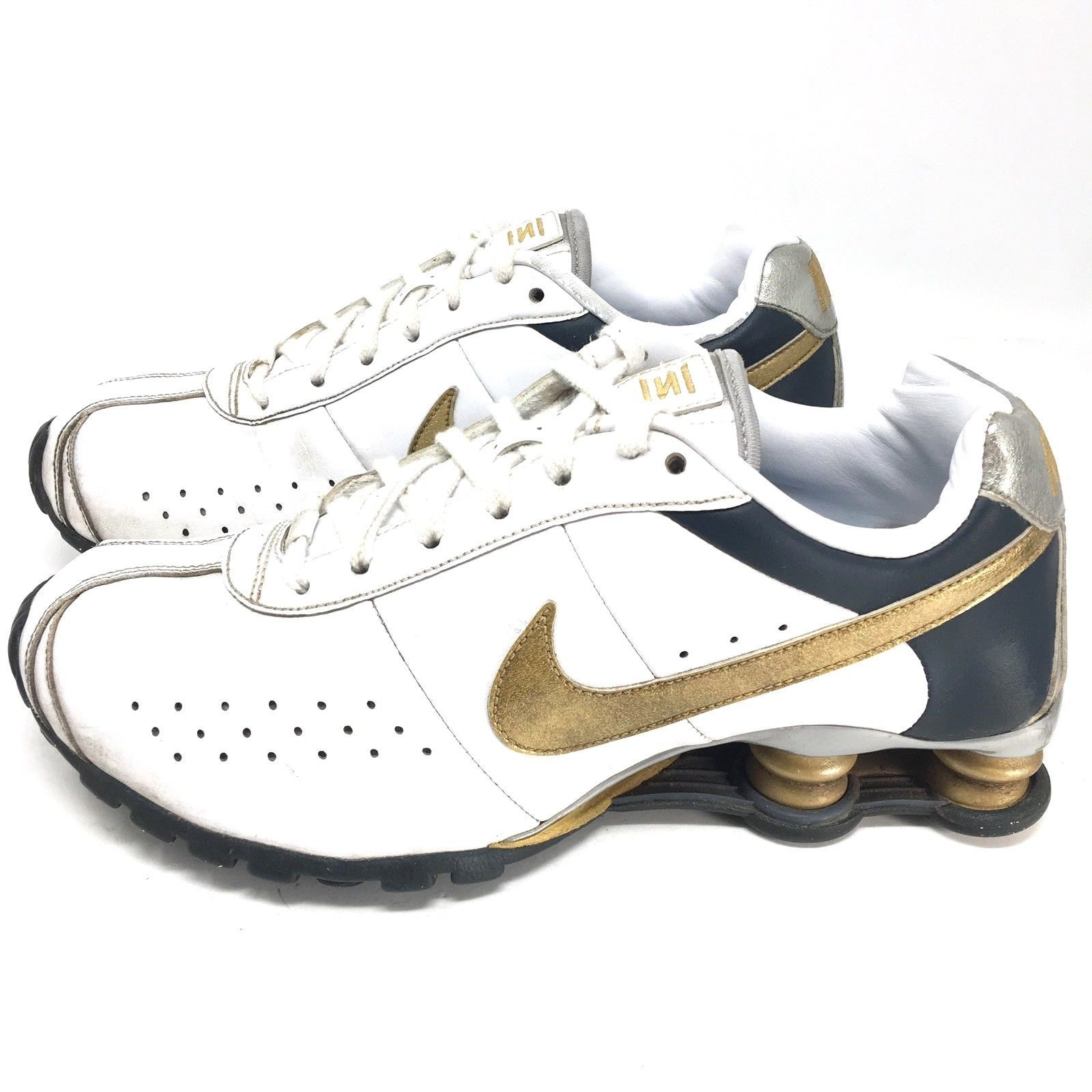 57. 57. Nike Womens Shox Classic II White Gold 343907-171 Running Shoes  Sneakers Sz 8 M  Nike Womens Shox ... 388564f25