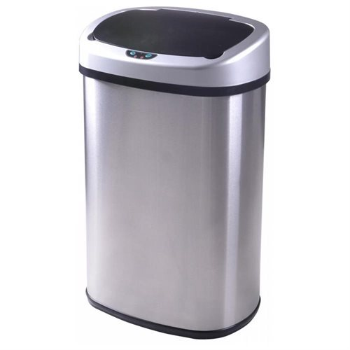 13 Gallon Touch free Sensor Automatic Stainless Steel Trash Can Stainless Steel