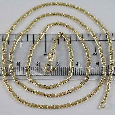 18K YELLOW GOLD CHAIN NECKLACE ALTERNATE GOURMETTE FLAT MESH 19.7 MADE IN ITALY