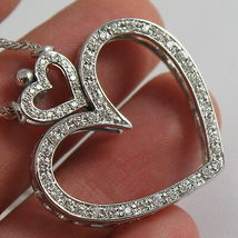 SOLID 18K WHITE GOLD NECKLACE, DOUBLE BIG HEART DIAMONDS, DIAMOND MADE IN ITALY image 8