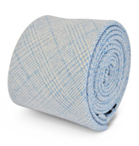 Frederick Thomas 100% linen light blue & white check slim mens tie FT3112