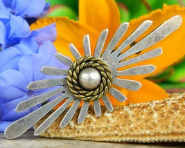 Vintage Taxco Mexico Sterling Silver Dome Modernist Brooch Pin TS 91 - £61.49 GBP