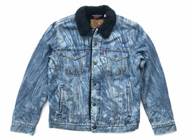 Levis x Justin Timberlake Mens M Sherpa Denim Jean Trucker Jacket Red Ta... - $118.75