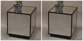 TWO NEW ANTIQUED MIRROR CUBE ACCENT SIDE END TABLE AGED BLACK OVER RED M... - $514.80