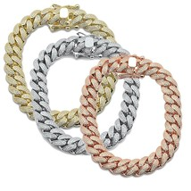 Hip Hop Bling Iced 12MM Micro Pave Cuban Link .925 Sterling Silver Brace... - $250.00
