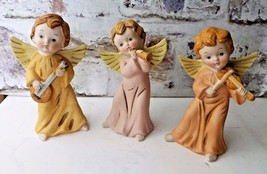 "Vintage 3 Homco Angel Porcelain Figurines playing instruments 6"" - $12.98"