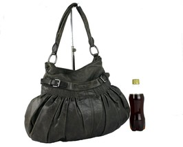 Authentic MIU MIU Grey Leather Hand Bag Shoulder Bag Purse Vintage Tote ... - $167.31
