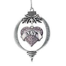 Inspired Silver Aunt Pink Pave Heart Holiday Ornament - $14.69