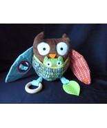Skip Hop Stuffed Plush Owl Bird Developmental Baby Toy Rattle - $9.75