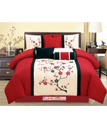 7P Quilted Peach Plum Blossom Tree Embroidery Comforter Set Red Off-Whit... - $66.94