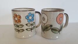 Vintage Stoneware Coffee Mug Pair Made In Japan Flowers - $9.89