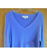 Cabela's Womans Blue Cotton Cable Knit Large V Neck Long Sleeve Pullover... - $12.53