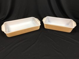 "Vintage Fire King Oven Ware Baking Dishes Made In USA Iridescent Peach Luster 9"" - $39.99"