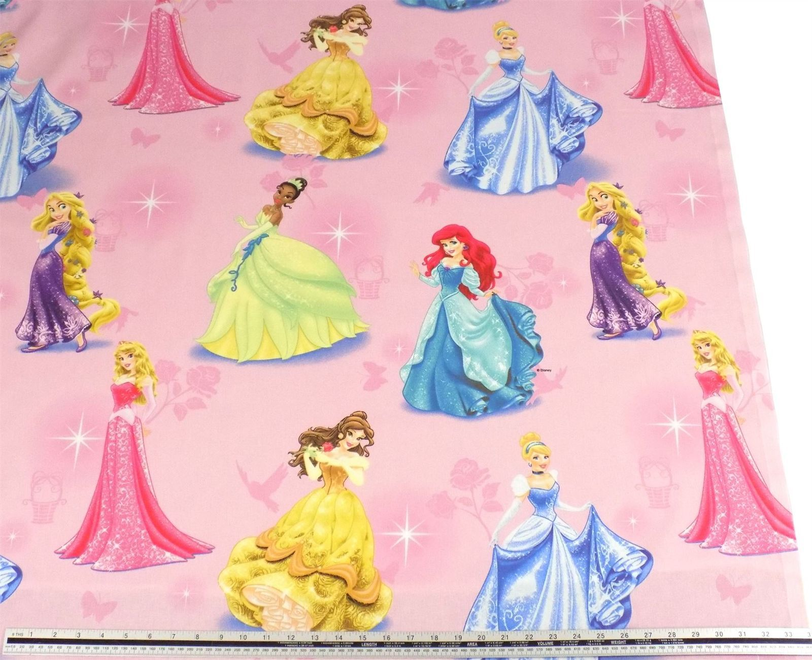 Disney Princesses Pink 100% Cotton High Quality Fabric Material *3 Sizes*