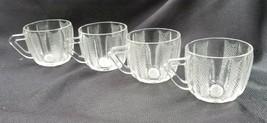 4 Vintage Clear Jeannette Glass Dewdrop Pattern Snack Cups - $18.00