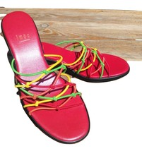 Cute Red pumps New. With Red Lime Green, And yellow straps. Size 5.5 - $22.50