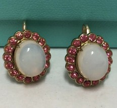Coro Earrings Pink Rhinestones White Oval Center Gold Tone Signed Screw ... - $19.79