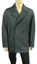 NEW MENS INC WOOL BLEND DOUBLE BREASTED GREY CHARCOAL COAT L $250 - $50.99