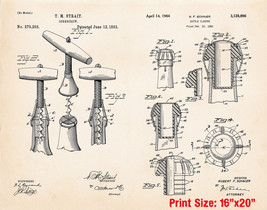 """Vintage Wine Print Poster Art Gifts For Wine Drinkers 16""""x20"""" US Patent ... - $19.80"""