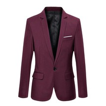 Blazer Mens Casual Jacket Solid Color Cotton Men Blazer Jacket Men Class... - $25.99