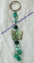 """Butterfly glass and mother of pearl 6 1/2"""" handmade keyring - $12.00"""