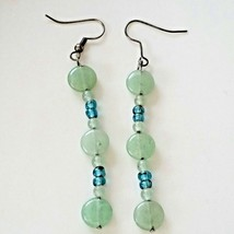 "VTG Earrings Blue Green Stone Glass 3"" Drop Dangle Beaded Costume Fashio... - $4.95"