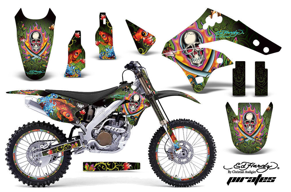 Kit Grafica Decalcomania Wrap + Targhe per Kawasaki KX250F 2006-2008 Edhp Verde
