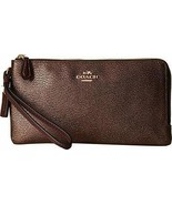 NWT COACH Women's Color Block Doubled Zip Wallet, LI/Oxblood/Bronze - $93.31