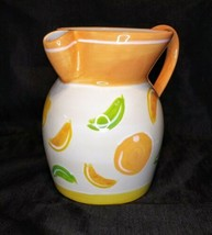 "Rare Pfaltzgraff Citrus Juice Sangria Pitcher Orange Fruit Yellow 9.25"" Ceramic - $38.61"