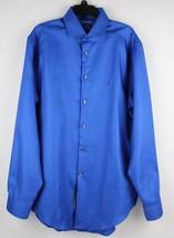 Calvin Klein shirt men's long sleeve blue cobalt cotton size 15-15 1/2-32/33 - $20.38