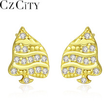 CZCITY Sterling Silver 925 Christmas Tree Design Stud Earrings for Women... - $24.70+