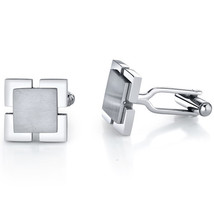 Steel Dual-Tone Square Cufflinks - $55.99