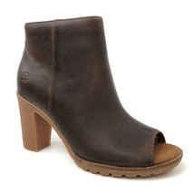Timberland Womens Tillston Peep Toe Brown Leather Ankle Bootie Boots A1I... - $114.49