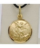 SOLID 18K YELLOW GOLD SAINT MICHAEL ARCHANGEL 15 MM MEDAL, PENDANT MADE ... - $272.65