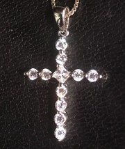 14K Gold Layer On Solid Silver Cubic Zirconia Cross Charm Pendant Free C... - $30.96