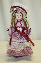 "Vintage 8-1/2"" Porcelain Doll Blonde Hair  Big Curls Great Condition - $19.79"