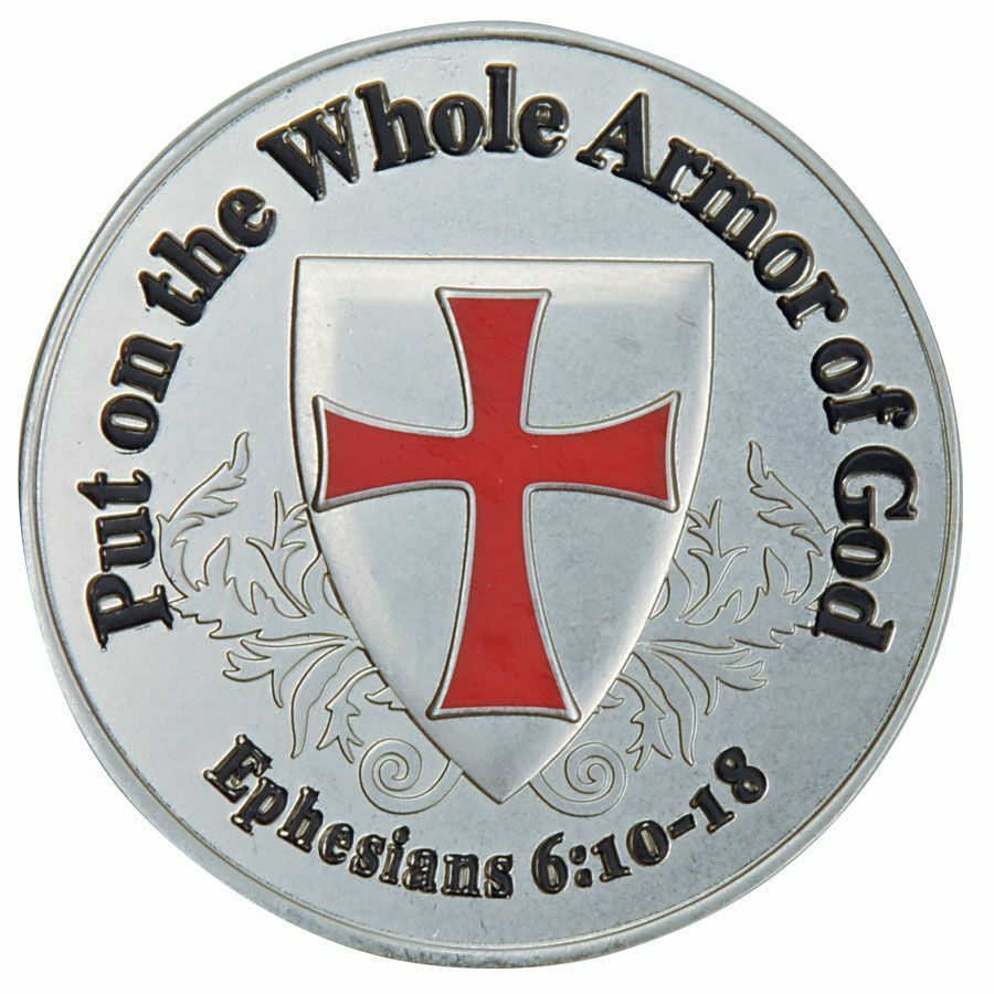 """PUT ON THE WHOLE ARMOR  OF GOD PRAYER 1.75""""  CHALLENGE COIN"""