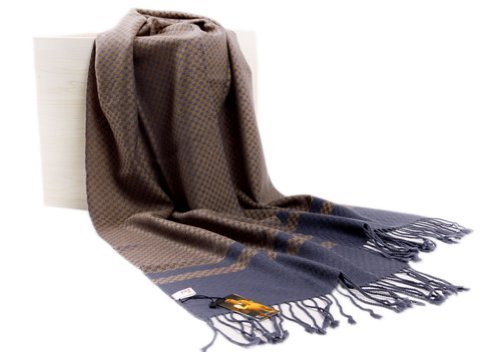 Men's Fleece Cashmere Feel Scarf Classic Plaids Infinity Scarf shawl Blue